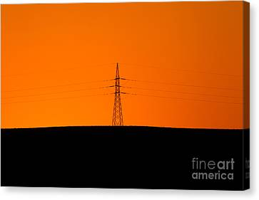 Powerline Sunset Silhouette Canvas Print by Bill  Robinson