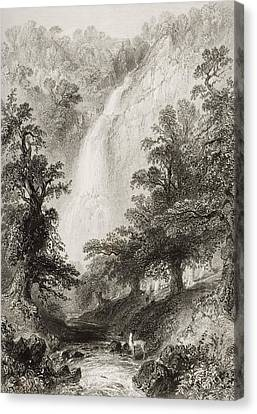 Powerscourt Fall, County Wicklow Canvas Print by Vintage Design Pics