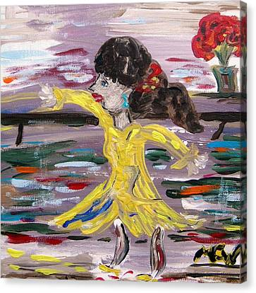 Canvas Print featuring the painting Practice Modern Dance by Mary Carol Williams