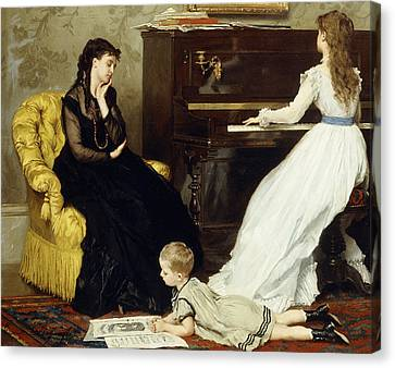 Practicing Canvas Print by Gustave Leonard de Jonghe