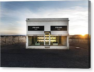 Prada Marfa Is A Permanently Installed Sculpture By Elmgreen And Dragset Near The Town Of Valentine Canvas Print
