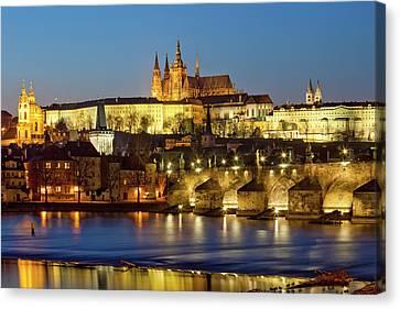Prague - Charles Bridge And Hradcany Castle Canvas Print