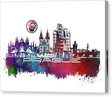 Prague Art Skyline Canvas Print