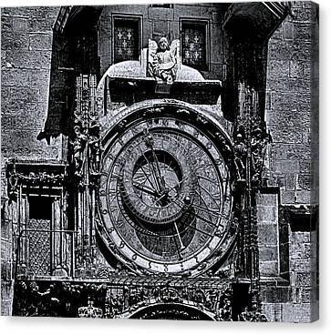 Prague Astronomical Clock 2 Bw Canvas Print