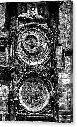 Prague Astronomical Clock Bw Canvas Print