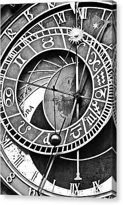 Prague Astronomical Clock Close-up Bw Canvas Print