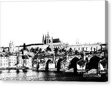 Prague Castle And Charles Bridge Canvas Print by Michal Boubin