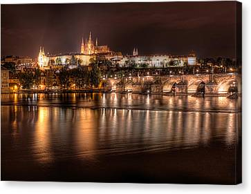 Prague Castle At Night - Czech Republic Canvas Print by Nico Trinkhaus