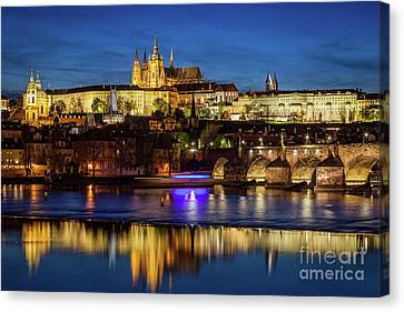 Prague Castle, Hradcany Reflecting In Vltava River In Prague, Czech Republic At Night Canvas Print