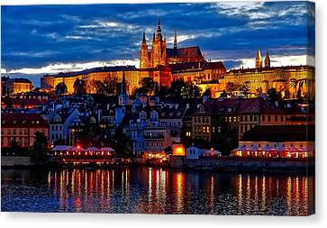 Prague Castle In The Evening Canvas Print