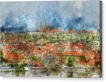 Prague Castle With Famous Charles Bridge In Czech Republic Canvas Print by Brandon Bourdages