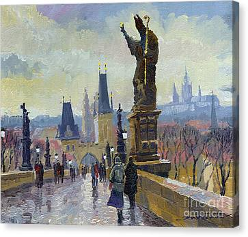 Prague Charles Bridge 04 Canvas Print by Yuriy  Shevchuk