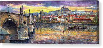 Landscape Canvas Print - Prague Charles Bridge And Prague Castle With The Vltava River 1 by Yuriy  Shevchuk