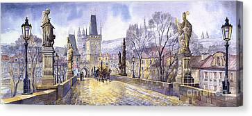 Prague Charles Bridge Mala Strana  Canvas Print by Yuriy  Shevchuk