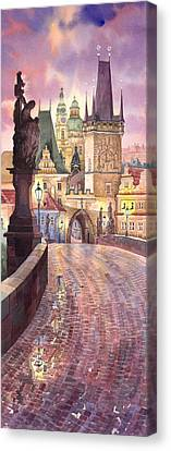 Prague Charles Bridge Night Light 1 Canvas Print by Yuriy  Shevchuk
