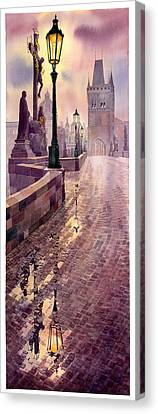 Prague Charles Bridge Night Light Canvas Print by Yuriy  Shevchuk
