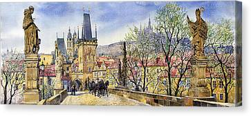 Prague Charles Bridge Spring Canvas Print by Yuriy  Shevchuk