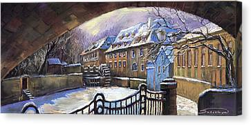 Czech Republic Canvas Print - Prague Chertovka Winter 01 by Yuriy  Shevchuk