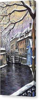 Prague Chertovka Winter Canvas Print by Yuriy  Shevchuk