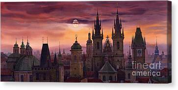 Prague City Of Hundres Spiers Canvas Print by Yuriy  Shevchuk