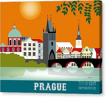 Charles River Canvas Print - Prague Czech Republic Horizontal Scene by Karen Young