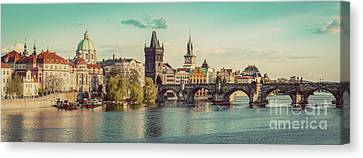 Prague, Czech Republic Panorama With Historic Charles Bridge And Vltava River Canvas Print