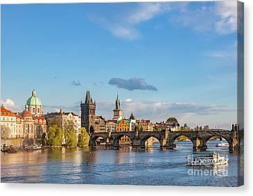 Prague, Czech Republic Skyline With Historic Charles Bridge And Vltava River Canvas Print by Michal Bednarek