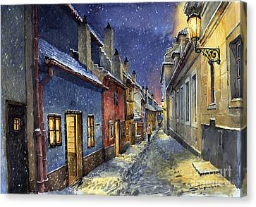 Prague Golden Line Winter Canvas Print by Yuriy  Shevchuk