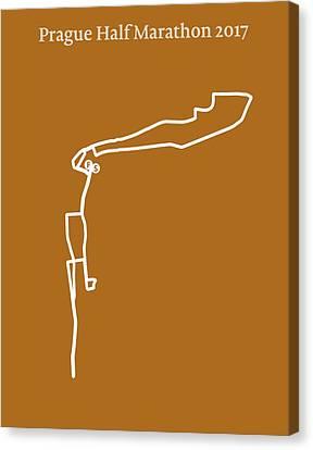 Prague Half Marathon Line Canvas Print