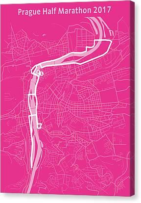 Prague Half Marathon Magenta Canvas Print