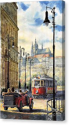 City Scenes Canvas Print - Prague Kaprova Street by Yuriy  Shevchuk