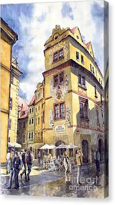 Streetscape Canvas Print - Prague Karlova Street Hotel U Zlate Studny by Yuriy Shevchuk