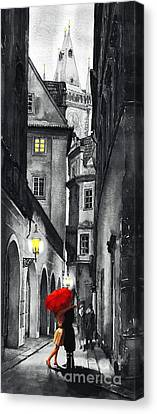 Mixed Canvas Print - Prague Love Story by Yuriy  Shevchuk