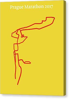 Prague Marathon Line Canvas Print