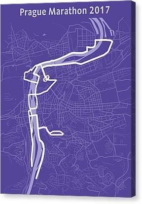 Prague Marathon Purple Canvas Print