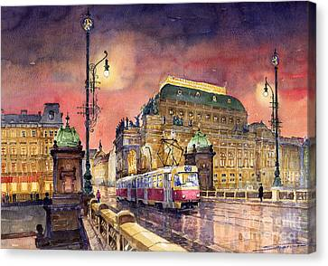 Prague  Night Tram National Theatre Canvas Print by Yuriy  Shevchuk
