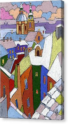 Old Canvas Print - Prague Old Roofs Winter by Yuriy  Shevchuk