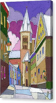 Old Canvas Print - Prague Old Street Jilska Winter by Yuriy  Shevchuk