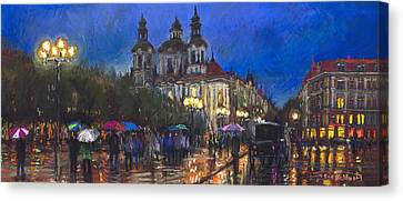 Prague Old Town Square St Nikolas Ch Canvas Print by Yuriy  Shevchuk