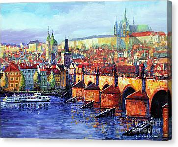Prague Panorama Charles Bridge 07 Canvas Print by Yuriy Shevchuk
