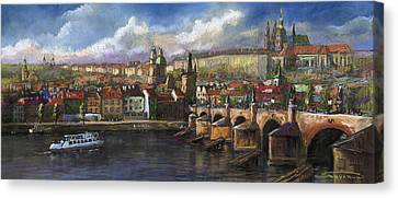 Prague Panorama Charles Bridge Prague Castle Canvas Print by Yuriy  Shevchuk