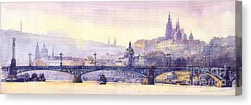 Prague Panorama Chehuv Bridge Canvas Print by Yuriy  Shevchuk