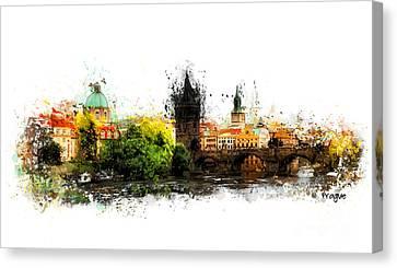 Prague Panorame Canvas Print by Justyna JBJart