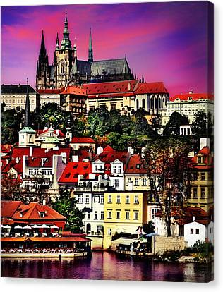 River Front Dining In Prague  Canvas Print by Russ Harris