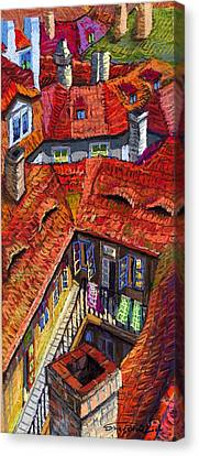 Prague Roofs 01 Canvas Print by Yuriy  Shevchuk
