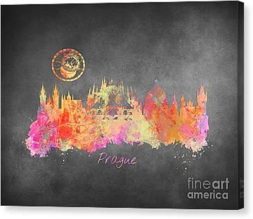 Prague Skyline Art Canvas Print