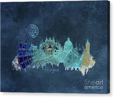 Prague Skyline Blue Art Canvas Print