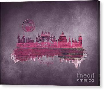 Prague Skyline Purple Canvas Print