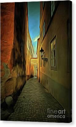 Prague Street - Historical Centre Of The Prague Canvas Print by Michal Boubin