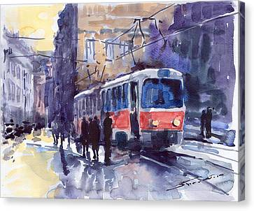 Prague Tram 02 Canvas Print by Yuriy  Shevchuk